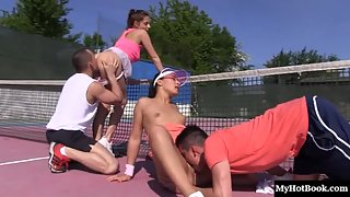 Hot Antonia Sainz and Ana Rose pussy fucked during tennis play