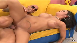 Charming Brunette Lady with Bald Dude Having Breathtaking Sex