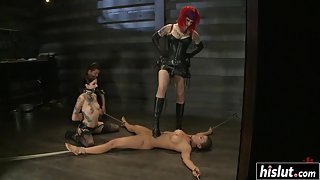 Two Dominant Babes Having Their Way with an Innocent Submissive in BDSM