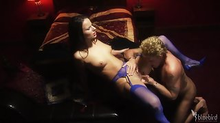 Amazing brunette in blue stockings and high heels enjoys hardcore sex