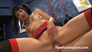 Skinny Coco Velvett with pigtails fucked deep on the couch
