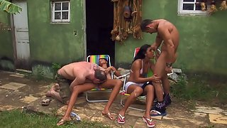 Outdoor orgy with hot latina's ready to have some nasty fun