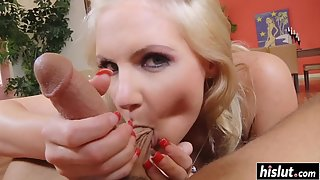 Teenager Blonde Phoenix Marie Sucked Hard Cock with her Tits