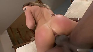 Sizzling blonde playing with black dude