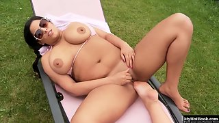Huge boobs chubby lesbians using feet for fun