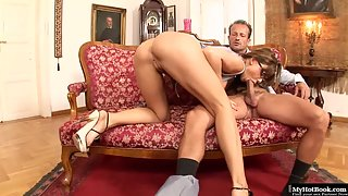 Leggy Slut Aletta Ocean in High Heels Deeply Swallows Pulsating Fat Prick
