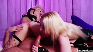 Lascivious Blonde Sluts Share Meaty Prick after Strapon Pounding