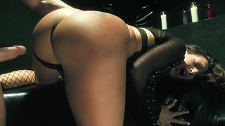 Blindfold Brunette Whore with Big Butts Gets Hard Crushed