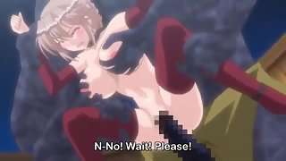 Busty blonde anime babe gets hard fucked by monsters