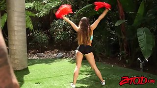 Naughty cheerleader teasing dick in backyard to get laid