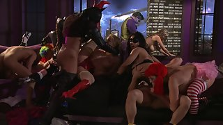Orgy cosplay fuck with stunning pornstar milfs and babes