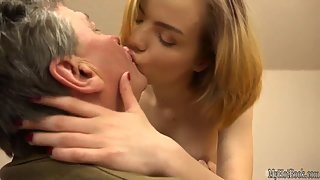 Short Haired Teen with Tiny Boobs Kissing and Sucking Cock