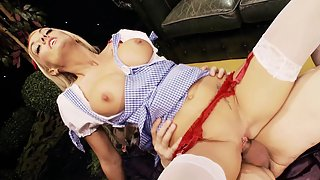 Stunning blonde chick gets banged in her pierced pussy