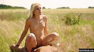 Petite blonde gets rammed hard outdoors