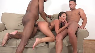 Brunette Amirah Adara Gets Double Penetrated by Thick Black Peckers