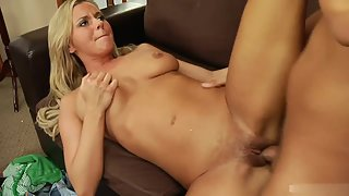 Skinny blonde babe gets hammered by a huge dick