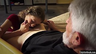 Dazzling Blonde Chick Nicely Fondling Hard Prick of Old Dude